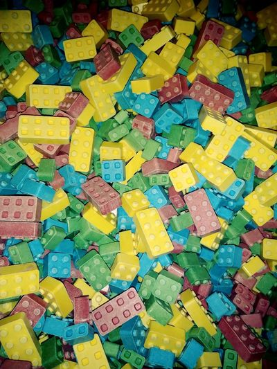 Lego Candy Crunchy Legos Candy Yummy Sticky Square Square Shape Multi Colored Backgrounds Yellow Full Frame Choice Variation Close-up Sticky Colorful Sweet Candy Store