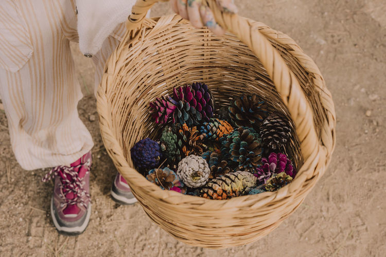 High angle view of candies in basket
