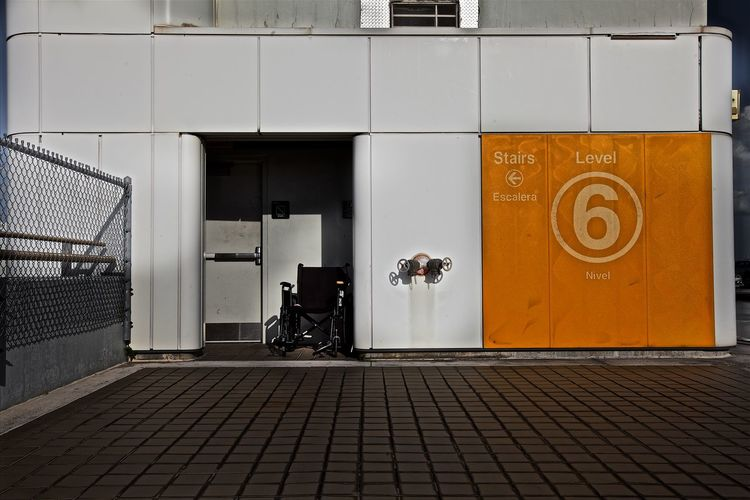 Wheelchair at entrance of building