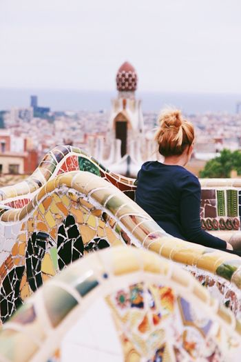 Neighborhood Map Real People Rear View Architecture Barcelona Park Guell Solo Travel Destinations Gaudi SPAIN Catalunya Woman Back Alone Alone Your Ticket To Europe