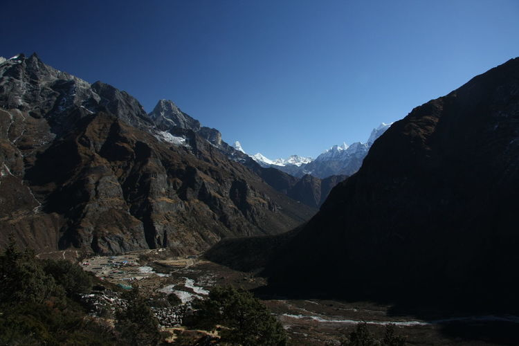 Scenic view of himalayan mountains against clear blue sky