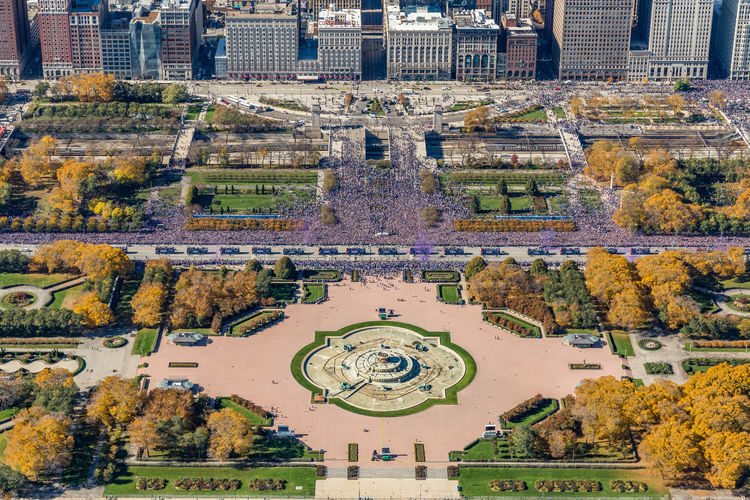 Chicago Cubs World Series Parade 2016 shot from a helicopter Chicago Cubs Chicago Architecture Crowds Gathering Grant Park Aerial View Architecture Built Structure City Crowds Of People Fall History Outdoors Parade Tourism Travel Destinations World Series 2016