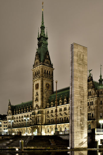 TownhallHamburg Architectural Column Architectural Feature Architecture Built Structure Capital Cities  City City Life Clock Tower Culture Day Ernst Barlach Famous Place History International Landmark Night Night Photography No People Outdoors Sky Stele Tall - High Tourism Townhall Hamburg Travel Destinations