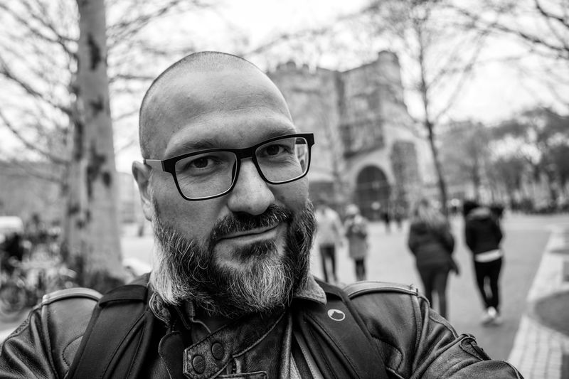 """""""Selfie"""" captured on the EOS-R with RF 24-105mm F4L IS USM during the """"Creator Meets"""" Event in Cologne hosted by EyeEm an Canon Deutschland at the """"Galerie Bene Taschen"""" in Cologne. It was nice to meet all those photographers, the EyeEm Team and Canon Crew. They were all very kind and it was a pleasure to join this event! Canondeutschland Creatormeets Canon EOS-R Glasses Portrait Eyeglasses  Headshot Beard Real People Focus On Foreground One Person Lifestyles Facial Hair Leisure Activity Front View Tree Men Looking At Camera Clothing Adult Young Adult Outdoors Mature Men"""