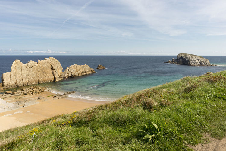 Arnia Arniabeach Beach Beauty In Nature Cantabria Coast Day Grass Horizon Over Water Landscape Nature Nature No People Outdoors Rock - Object Scenics Sea Sky SPAIN Tranquil Scene Tranquility Water