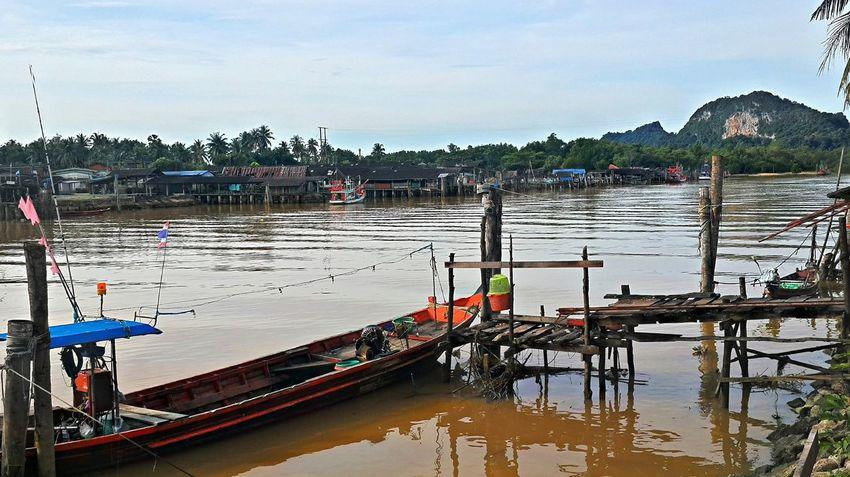 Pak Nam Lang Suan Village Boat Chumphon Day Mode Of Transport Outdoors Pak Nam Lang Suan River Scenics Thailand Tranquility Transportation