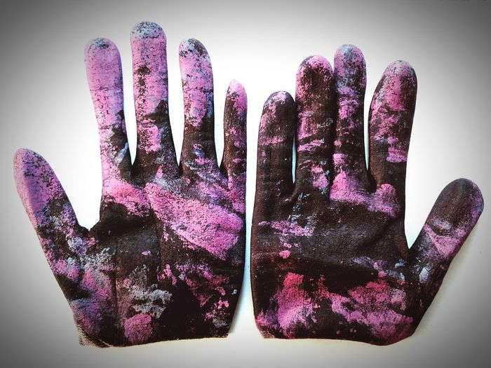 Palms Please No People Close-up Day Work Gloves Blue Pink Black Art Is Everywhere Gloves Indoors  Paper Directly Above