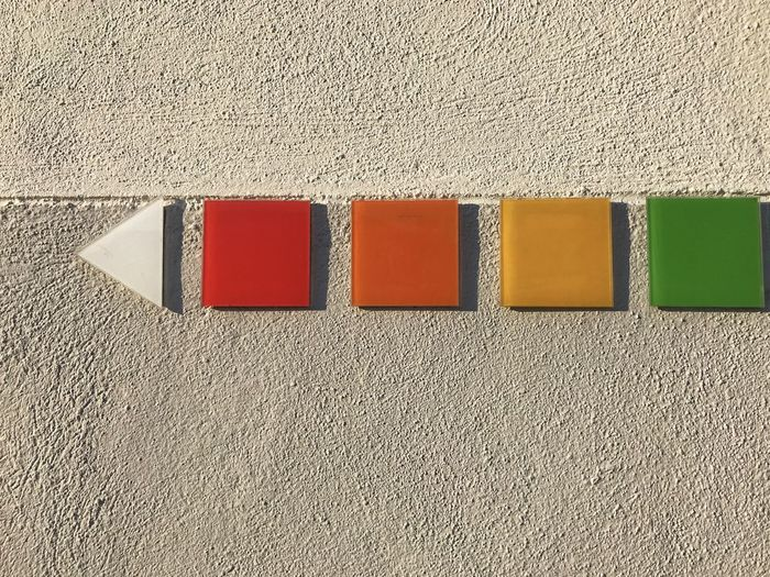 High angle view of multi colored wall