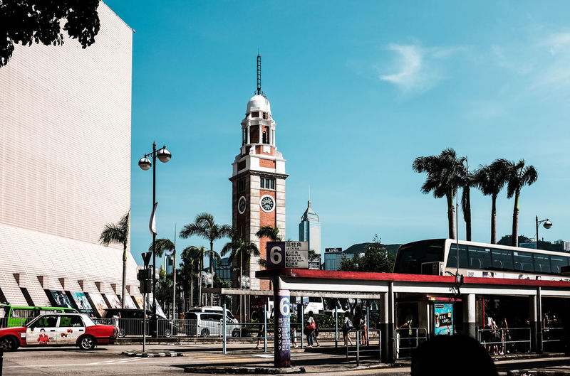HK Street HK Travel HK View Architecture Building Exterior Built Structure Car Clear Sky Day Land Vehicle Large Group Of People Outdoors Palm Tree People Real People Road Sky Transportation Tree