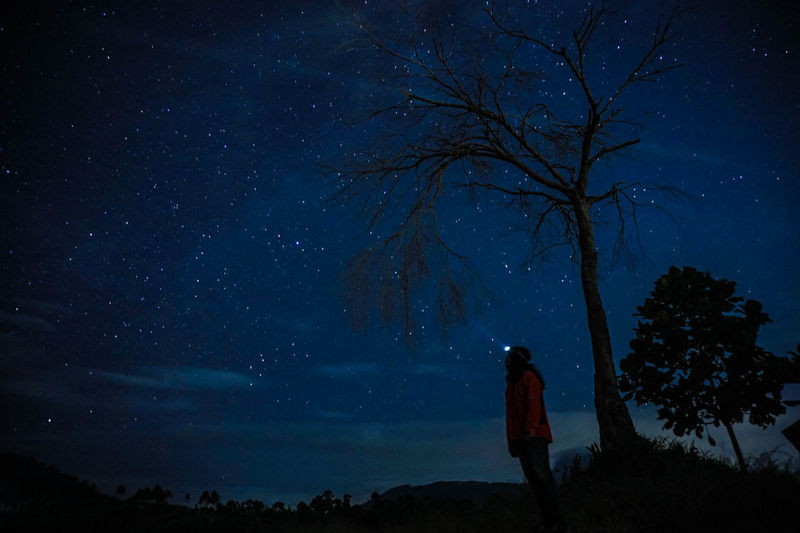 Low angle view of silhouette woman standing on field against starry sky