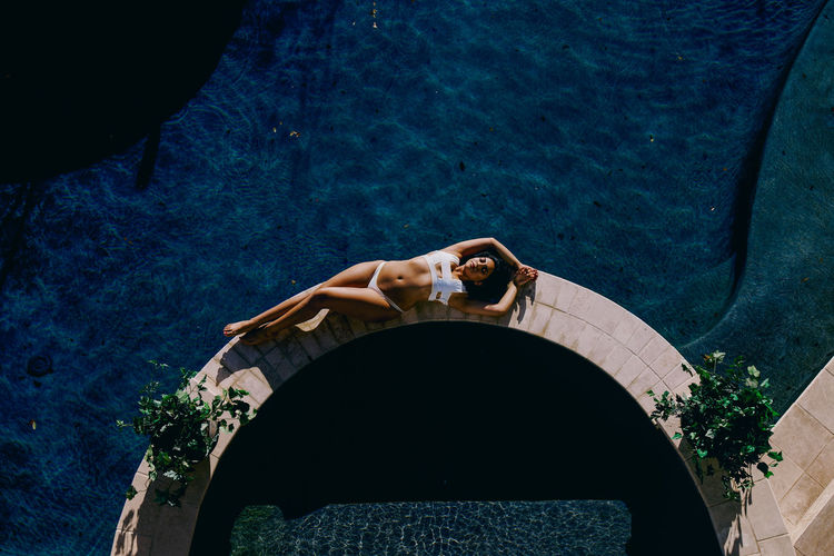 Adult Aerial View Fashion Fashionable Swimsuit K Lounging Lounging By The Pool Luxurious Luxurious Scene One Person Outdoors Pool Sexygirl Sunset Swim