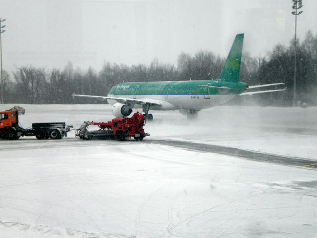 Aer Lingus Aircraft Airport Cold Temperature Deicing Push Back Runaway Snow Winter Transportation The Following
