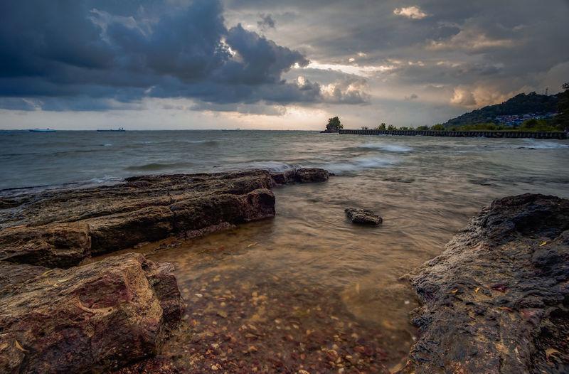 gloomy Sunday in Benua Patra Balikpapan #bluewater #sunset Gloomy Gloomy Day Gloomy Weather #sunset #sun #clouds #skylovers #skyporn #sky #beautiful #sunset #clouds And Sky #beach #sun _collection #sunst And Clouds #Nature  Borneo #bluesky #bluehour #sunnyday Balikpapan Beach Rock Rocks Water Low Tide Wave Sea Nautical Vessel Sunset Beach Beauty Sand Panoramic Seascape Coast Romantic Sky Rocky Coastline Dramatic Sky