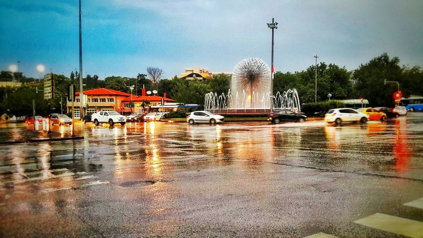 Street Photography Rain Reflection Sky Cars Road Trees Light And Shadow Sehir City