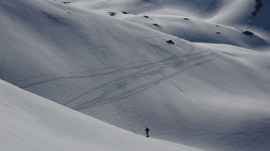 High Angle View Of People Skiing On Snow Covered Landscape