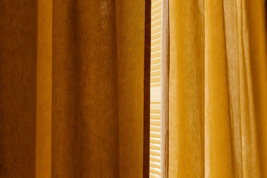 Fourdayspalma Backgrounds Full Frame Close-up No People Yellow Curtain Indoors  Pattern Textile Hanging Day Brown Side By Side Selective Focus In A Row Wood - Material Architecture Textured  Repetition