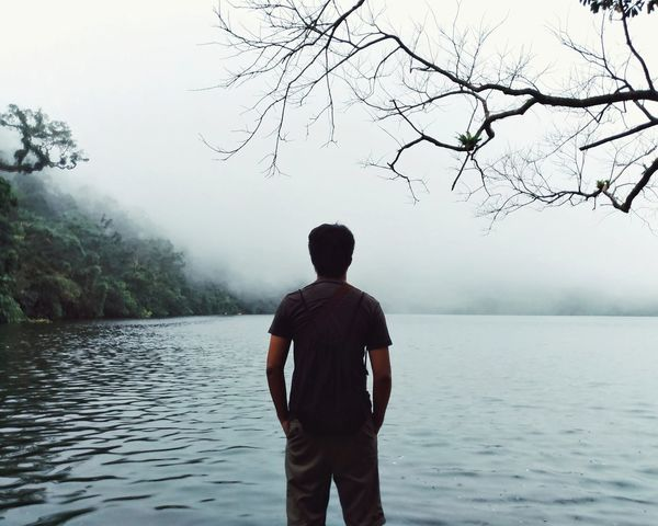 One Person Fog Rear View Lake Water One Man Only Nature Tree Outdoors People Day EyeEm Phillipines Travel Destinations Travel Philippines Branches Trees Eyeem Philippines Long Goodbye