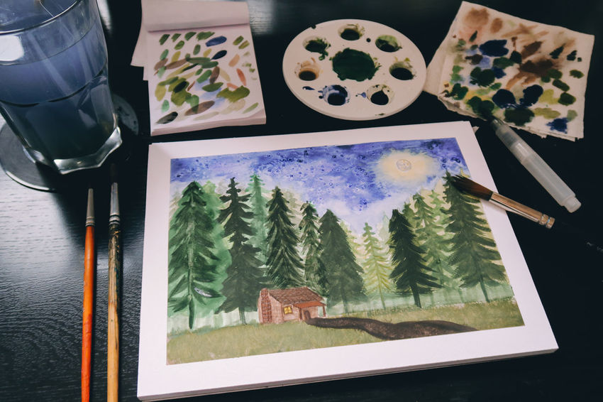 Colors Paint Brush Brushes Cabin In The Woods Close-up Day Draw Drawing Indoors  No People Painting Table Watercolor Watercolor Painting