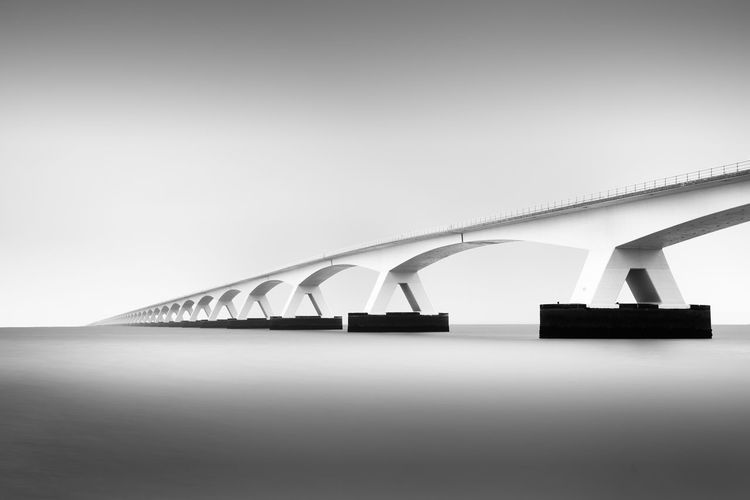 Zeelandbrug Architectural Feature Architecture Bridge Built Structure Clear Sky Engineering Fine Art Photography Long Exposure Modern No People Outdoors Perspective Sky White