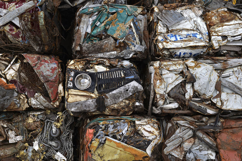 Full Frame Shot Of Garbage At Recycling Center