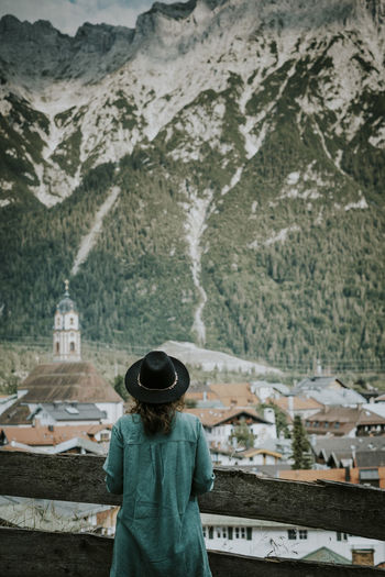 Bavaria Church Copy Space Hiking Mountain View Travel Travel Photography Wanderlust Adventure Alps Bayern Hat Lifestyles Looking At View Mountain One Person Outdoors Real People Rear View Town