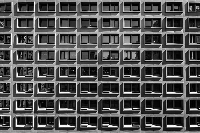 Full Frame Backgrounds Pattern Repetition Architecture No People Built Structure Building Exterior Business City EyeEm EyeEm Best Shots Blackandwhite Modern Urban Unique Perspectives EyeEm Gallery Escape Scenics Window Windows Reflection Off Window Reflection Fineart City Life