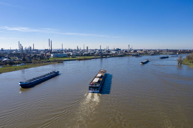 impressions from rural area, first spring days Day Nature Outdoors Dronephotography Aerial View Green Color Water Boats Rhine River River Nautical Vessel Sky Industry Transportation