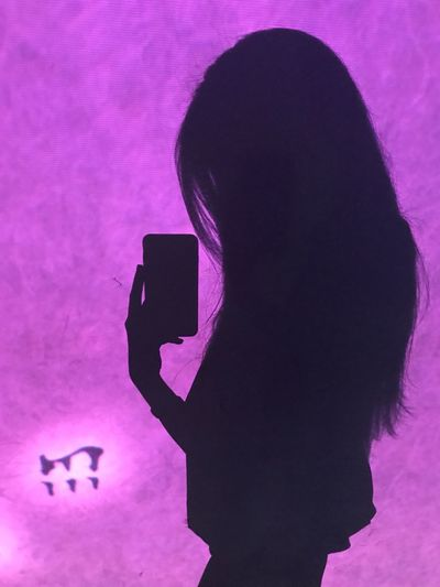 Shadow can be art Digital Wall Fashion Photography Seoul Shadow Art Smart Shadow Wireless Technology Smart Phone Portable Information Device Mobile Phone Communication Technology Pink Color