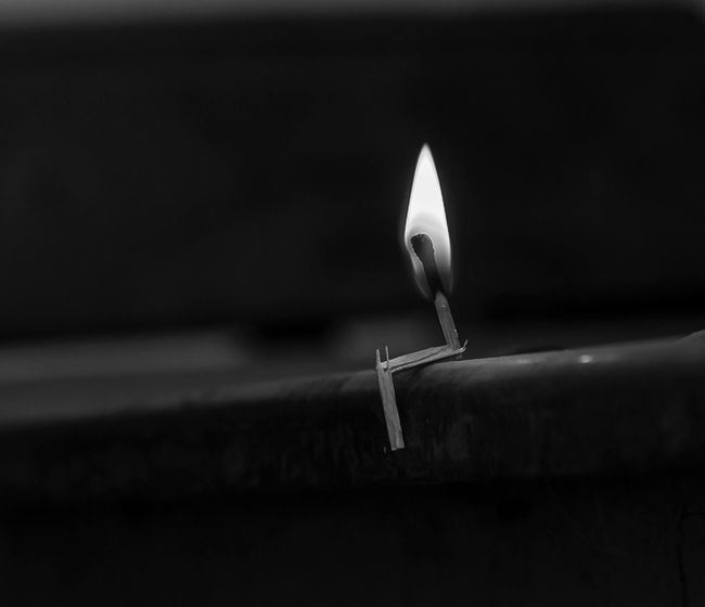 Hot Lonely Lonely Flame Sitting Stills Wondering Fla Black And White Friday Burning Burning Thoughts Close-up Flame Heat Heat - Temperature Heated Matches Wondering Wondering Mind