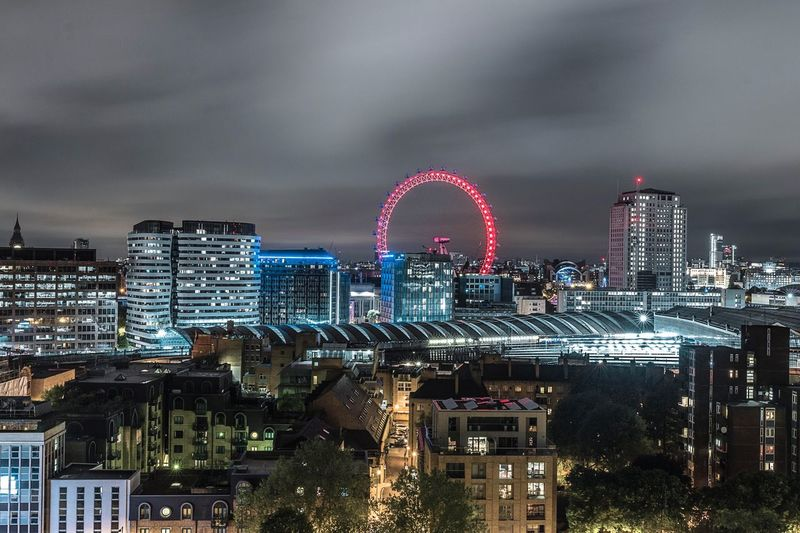 Architecture Building Exterior Built Structure Illuminated City Sky Cloud - Sky Cityscape Night No People Travel Destinations Outdoors Ferris Wheel Modern Skyscraper London EyeEm LOST IN London