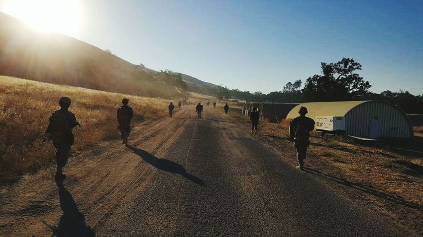 Just going for a walk. Sunlight Walking Army Hooah!!! Drill Weekend The Way Forward