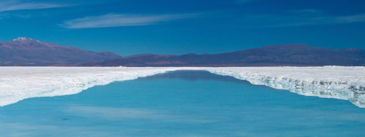Blue and White Beauty In Nature Blue Day Mountain Mountain Range Nature No People Outdoors Salinas Grandes Salt - Mineral Salt Flat Salta Province Scenics Sky Tranquil Scene Tranquility Water