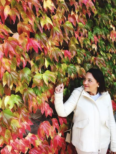 Autumn Mood One Person Women Real People Leaf Leisure Activity Plant Part Lifestyles Plant Waist Up Standing Adult Warm Clothing Autumn Outdoors EyeEmNewHere Autumn Mood