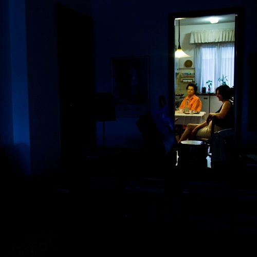 Indoorsphotography Indoors  Blue Orange People People Talking Love Joemcnally Style Colors Door Home Sweet Peoplephotography Situations Day Light Effect Lights Illuminated Close-up Warm Light Cold Light Effect Silhouette_collection One Person