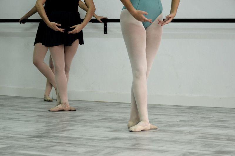 Low Section Of Ballerinas Practicing In Dance Studio