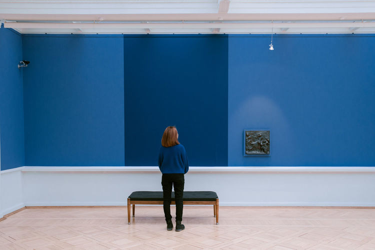 blues ii Blue Blue Color Interior Design Interior Museum Blend In  Architecture City Life City Street Photography Daily Life Portrait Photography One Woman Only One Person Only Women One Young Woman Only Sitting Adults Only Young Adult Rear View Adult Indoors  Young Women Women Blue
