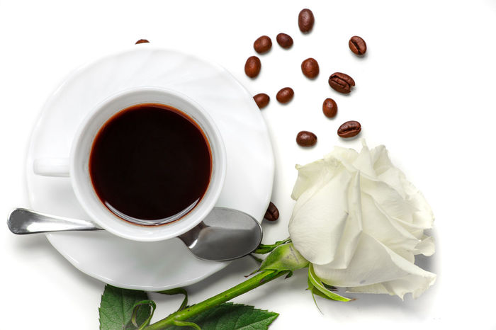 Close-up Coffee - Drink Coffee Beans Coffee Cup Cream Drink Food And Drink Freshness Green Horizontal Human Interest Indoors  Morning Non-alcoholic Beverage Photography Refreshment Rose - Flower Saucer Spoon Still Life Studio Shot Table White White Background White Rose