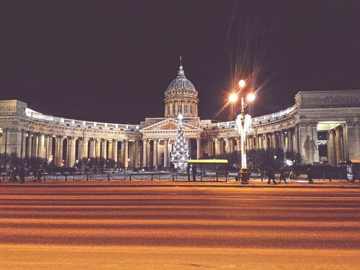 Night Illuminated Church Kazansky Cathedral Government Architecture Travel Destinatio Built Structure City Façade No People Building Exterior Outdoors Cultures Astronomy First Eyeem Photo Miles Away