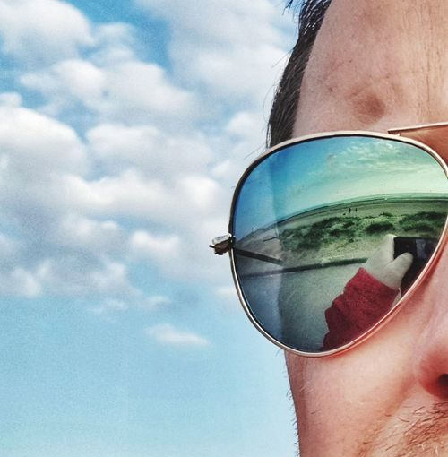 Reflections on the beach FaceShot Face Shot Shades Bins Sunglasses Reflections Reflections In Sunglasses Beach Beachphotography Beach Photography EyeEm Eyeem Reflections EyeEm Best Shots Sky Clouds Clouds And Sky Newbrightonbeach New Brighton Newbrighton Eyeglasses  Eyewear Summer Human Eye