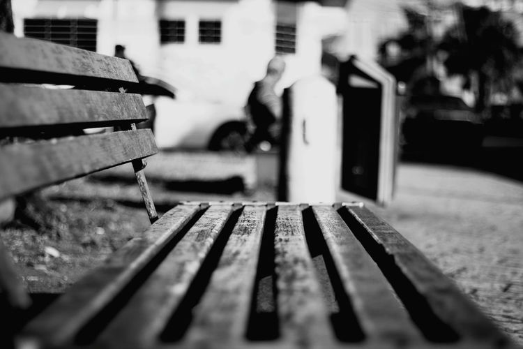 Close-up of old bench