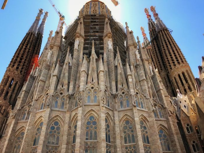 EyeEm Selects Architecture Barcelona SPAIN Segrada Familia Religion Place Of Worship Spirituality Low Angle View Built Structure Building Exterior Travel Destinations History Day Sky No People Outdoors Under Construction Breathing Space
