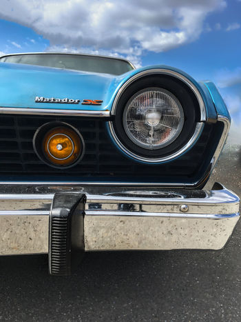 Auto Automobile Blue Bumper Car Chrome Close-up Collector's Car Grille Headlight Lights Low Angle View Matador Old-fashioned Retro Styled X Old Timer