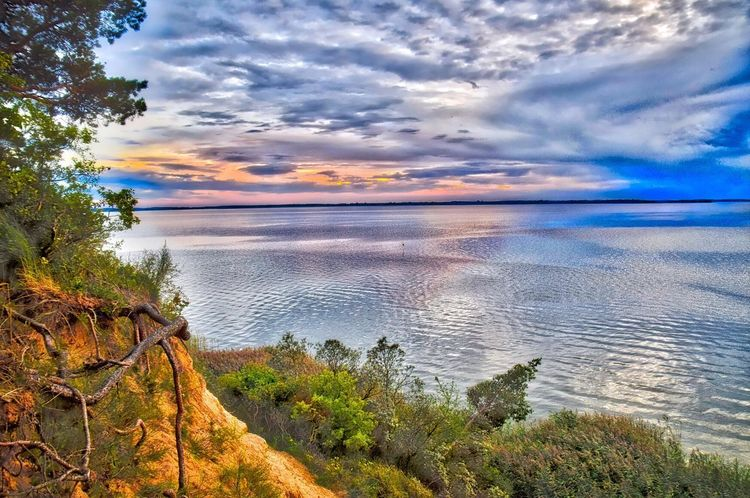 Water Tranquil Scene Scenics Tranquility Beauty In Nature Sunset Lake Cloud - Sky Tree Idyllic Sea Sky Nature Cloud HDR Calm Remote Blue Seascape Dramatic Sky Achterwasser Usedom Landscape Landscape_Collection Landschaft