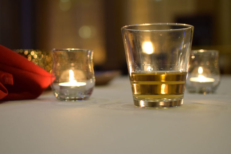 Candles Drinks Bar Glass Lighting Lighting Effects No People Scotch Table