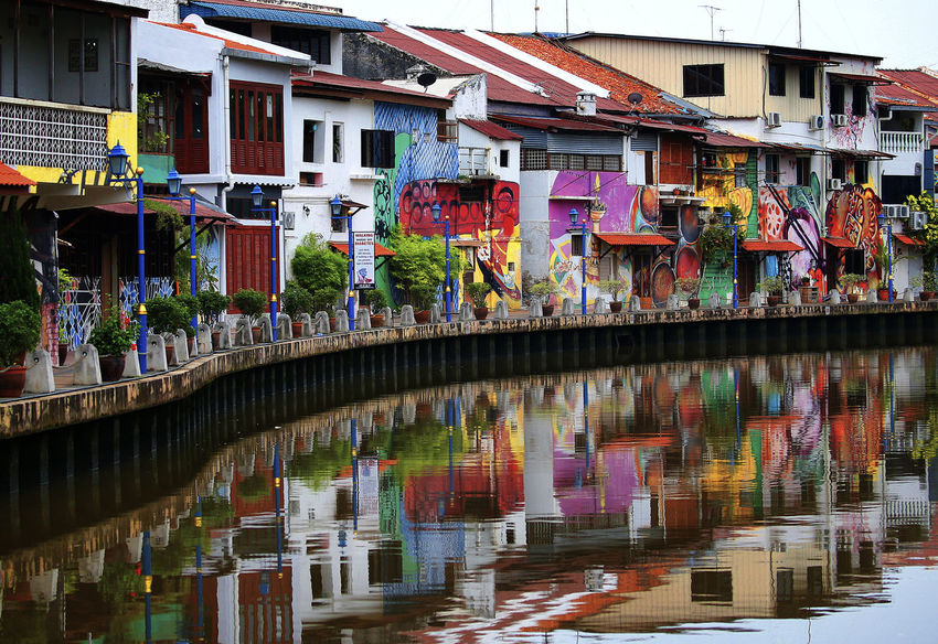 Architecture Bridge Bridge - Man Made Structure Building Building Exterior Built Structure Canal City Connection Day Multi Colored Nature No People Outdoors Reflection Residential District Row House Transportation Water Waterfront