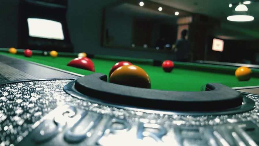 Sport Pool Ball Table Ball Indoors  Pool Table Leisure Games Pool - Cue Sport Close-up Selective Focus Relaxation Snooker Leisure Activity Arts Culture And Entertainment No People Technology Still Life Playing Pool Cue Focus On Foreground