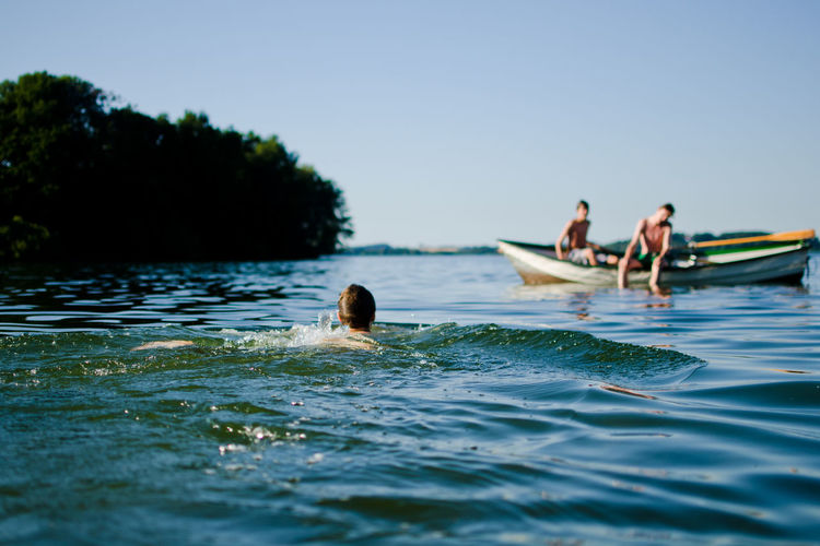 Blue Boat Clear Sky Fun Good Times Island Lake Men Nature Summer Swimming Vacations Water Wave Fresh On Market 2016