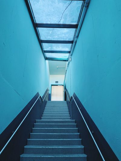 Exit with blue