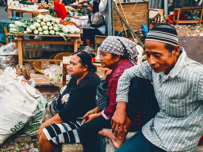 Full frame shot of people at market stall