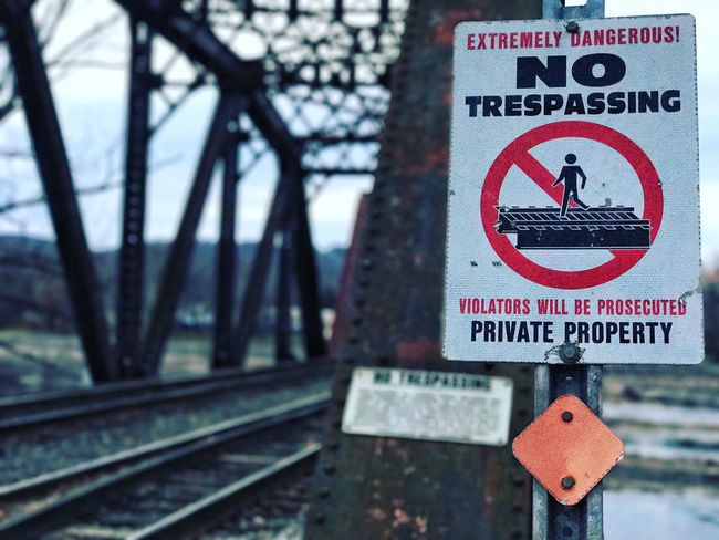 Railroad Bridge Railroad Track Outdoors Warning Sign Railroad Travel Industrial Photography Industrial Railroad Tie Rail Transportation Transportation Railroadphotography Weathered Signs